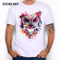 2017 Summer Custom Lion/Owl/Wolf/Tiger/Cat Design T Shirt Men's Watercolor Animal Graphics Printed Tops Hipster Tees Shirt Print Design, T Shirt Designs, Tops Hipster, Wolf T-shirt, Shirt Dress Pattern, Geile T-shirts, Lion Shirt, T Shirt Painting, Cat Design