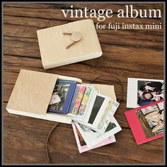Vintage wooden Album for Fuji instax mini film 7s,7s,25,55i,50s + 1Deco pen