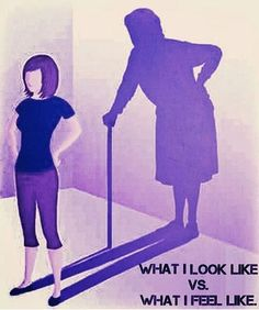 """This image is exactly it.  People assume because you """"look fine"""" you are, its not always the case. Dont judge a book by its cover. #fibromyalgia #chronicpain #chronicillness"""
