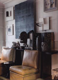 Chester Jones' London apartment; photo by Andreas von Einsiedel. #sculpture #leather #textures #interiors
