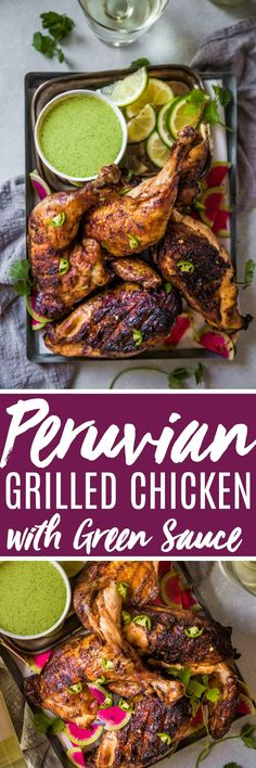 Peruvian Grilled Chicken with Creamy Green Sauce is packed with flavor and the perfect way to add some international flair to your next barbecue. // peruvian chicken // grilled chicken chicken dinner Peruvian Grilled Chicken with Creamy Green Sauce Grilled Chicken Recipes, Easy Chicken Recipes, Turkey Recipes, Dinner Recipes, Healthy Chicken, Grilling Recipes, Cooking Recipes, Grilling Tips, Peruvian Chicken