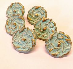 Aqua Sea Pulls Knobs Upcycled Shabby French Provincial Brass Leaf Flower Knobs 1.5 inch Set of 6 on Etsy, $28.43 AUD
