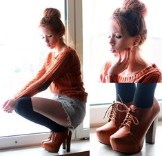 Brown Boots, Orange Sweater