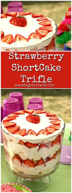 This Strawberry Shortcake Trifle is easy to throw together and it's always one of the first desserts to disappear at the party! Trifle Dish, Trifle Desserts, Trifle Recipe, Easy Desserts, Delicious Desserts, Strawberry Shortcake Triffle, Strawberry Trifle, Strawberry Recipes, Fruit Recipes