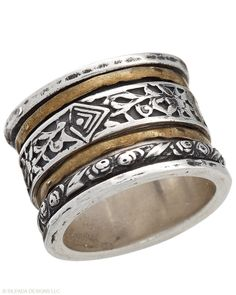 TWIRL RING $104.00  Spinning wheels of Brass surprise and delight. Sterling Silver.  Item Number: R2293 P 6