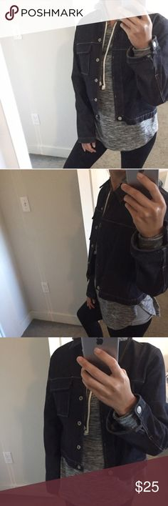 """Sale! Classic Raw Denim Jacket Not listed brand* brand is Old Navy - size M but can fit a small too. I'm 5'4"""" and size small for reference. Has the cool raw denim feel to it with one breast pocket and a boxy vintage feel. May deserve a light dry cleaning for a fresh feel and scent since it's been in storage. No trades.💕 Levi's Jackets & Coats Jean Jackets"""