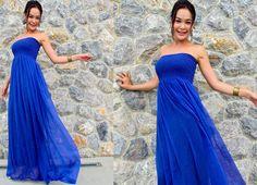 Royal Blue silk chiffon Strapless  Beach evening long maxi Sun dress fits S M L XL