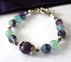 Aura Cleanser Flourite Bracelet with a touch of by iyildiz on Etsy, $26.00