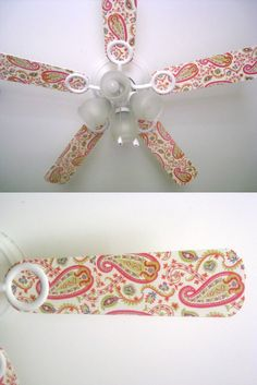 Did you know you can decorate a ceiling fan with scrapbook paper and Mod Podge? It's way easier than you think! Here's how it's done.