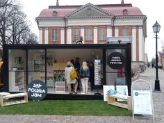 Simple design, maximum impact shipping container temporary retail outlet.  Finland. Polkka Jam pop-up shop.