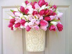 Spring Wreath, Easter Wreath, Tulip Wreath, Pink Wreath, Mothers Day Wreath Alternative, Spring Door Wreath by AWorkofHeartSA, $55.00