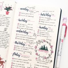 """workhardlikegranger: """" kyoko-studies: """"✿ weekly spread from last week ! i've been really into this layout style and the days of the week stickers from paperkumaco °˖✧◝(⁰▿⁰)◜✧˖° last week was a..."""