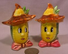 Vintage Anthro Corn Farmers Wearing Hats S&P Shakers