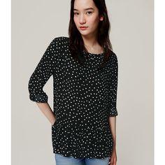 LOFT Polka Dot Peplum Blouse ($55) ❤ liked on Polyvore featuring tops, blouses, black, long sleeve tops, loft tops, long sleeve blouse, polka dot blouse and loft blouse