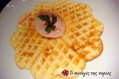 Βάφλες με φέτα #sintagespareas Feta, Waffles, Pancakes, Breakfast Snacks, Greek Recipes, Crepes, Donuts, Toast, Food And Drink