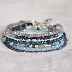 Bracelet en perles de labradorite (pierres semi-précieuses naturelles) & argent massif 925 - bijou fin, raffiné, délicat,