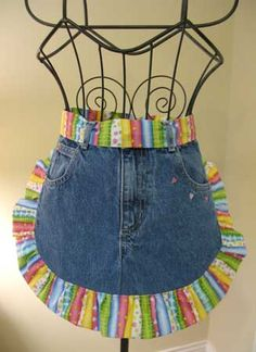 recycle old jeans, cute apron.