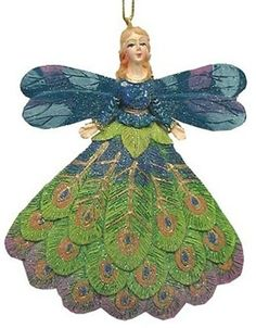 "4"" Glitter Regal Peacock Angel Christmas Ornament (currently unavailable)"
