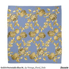 Gold & Periwinkle Blue Modern Floral Toile