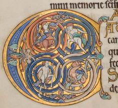 Glasgow University Library. The Hunterian Psalter. England: c. 1170. Sp Coll MS Hunter U.3.2 (229). folio 125v: inhabited initial C (psalm 97)