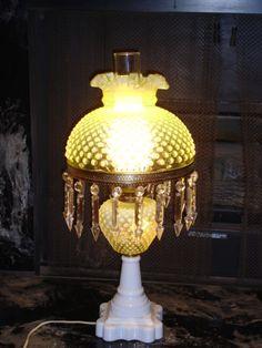 """FENTON VASELINE GLASS TOPAZ COLOR OPALESCENT HOBNAIL 10"""" LAMP GWTW"""
