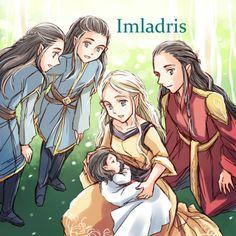 Elladan, Elrohir, Elrond, Celebrían and Arwen