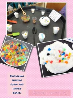 Water beads and shaving foam. The children loved making cakes and pies! Childcare Activities, Nursery Activities, Sensory Activities, Infant Activities, Activities For Kids, Tuff Spot, Sensory Tubs, Sensory Play, Sand Tray