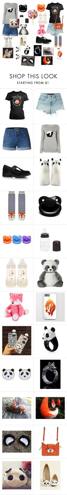 """Daddy's little...panda and fox"" by rainythedarklord ❤ liked on Polyvore featuring T By Alexander Wang, LE3NO, Loewe, Forever 21, Accessorize, Giorgio Armani, Nach and Anya Hindmarch"