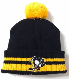 367dd42067b PITTSBURGH PENGUINS POM BEANIE Black Yellow Stripe Winter Knit Ski Hat  Men Women  AmericanNeedle  PittsburghPenguins