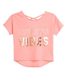 Sports Top | Light neon-pink melange | Kids | H&M US