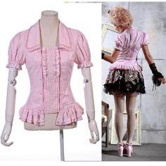 Womens Pink Cotton Short Sleeve Fitted Gothic Lolita Fashion Shirt SKU-11407162