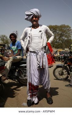 Male member of Rabari tribe in traditional costume in Anjar, Kutch, Gujarat, India Stock Photo