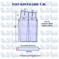 KiVita MoYo: PANTALON PALAZZO TALLE 36 Bodice Pattern, Pants Pattern, Fashion Sewing, Kids Fashion, Clothing Patterns, Sewing Patterns, Modelista, Sewing For Beginners, Palazzo Pants