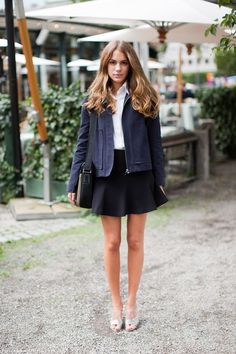 black and navy - cool skirt - street style inspiration