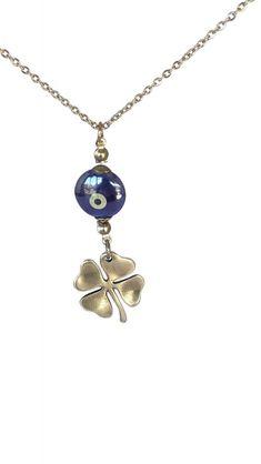 Bijou retroviseur de voiture trèfle à 4 feuilles et oeil bleu Baby Jewelry, Handmade Jewelry, Evil Eye Jewelry, Pendant Necklace, Eyes, Bracelets, Dark Blue Eyes, Quirky Gifts, Automobile