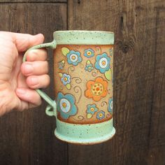 Tall 16 oz Handbuilt Pottery/Clay Coffee Cup/ Mug with Hand-Painted Flowers in Shades of Aqua/ Turquoise, Orange, Red and Chartreuse - LOVE THIS POTTER and THIS MUG!!
