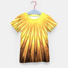 Gold Sun Kid's T-shirt, Live Heroes @liveheroes by @photography_art_decor. All product: https://liveheroes.com/en/brand/oksana-fineart #fashion #clothing #online #shop #liquid #psychedelic #abstract #golden #metalic #gold #sun #yellow #abstract #ray #briht #pattern #wave #trendy #stylish #fashionable #modern #awesome #amazing #clothes #summer
