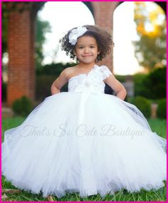 7294ef22f47 Elegant White Flower Girl Tutu Dress-white