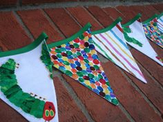 Very hungry caterpillar bunting, too cute. @Gill Gratton - do you have time to make this for Kai's birthday?