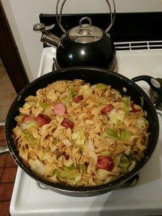 Haluski (cabbage, kielbasa, onion, & noodles) Good polish food!