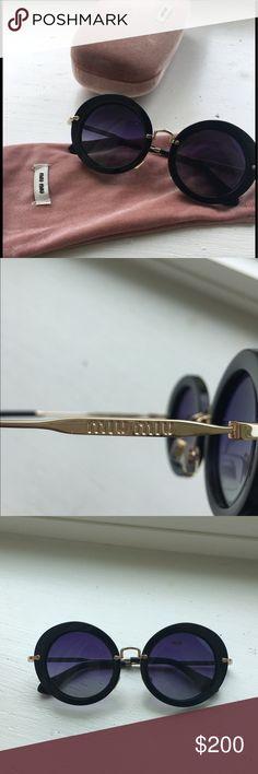Miu miu round sunglasses Barely worn. super chic summer essential! Miu Miu Accessories Glasses
