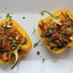 Bell peppers are stuffed and baked with quinoa, spinach and leftover chicken. - Bell peppers are stuffed and baked with quinoa, spinach and leftover chicken. A … – Frida Mouzo - Cleanse Recipes, Soup Recipes, Chicken Recipes, Cooking Recipes, Healthy Recipes, Recipies, Salad Recipes, Wild Rose Detox, Clean Eating Recipes