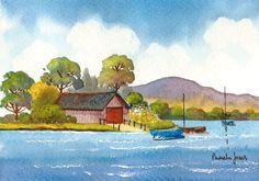 Original Watercolour Painting Boat House by Pamelajonesartstudio
