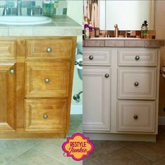 General Finishes Linen bathroom - before and after Milk Paint Cabinets, Painting Bathroom Cabinets, Furniture Projects, Diy Furniture, Cabinet Refinishing, General Finishes, How To Distress Wood, Beautiful Interiors, Diy Painting