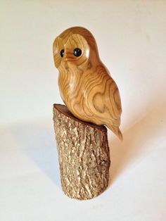 owl wood  carving  art hand carved rustic wood bird, owl art, owl decor , made in canada, cottage decor, owl gift, m