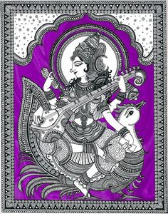Hindu Goddess Saraswathi Art Print Home Decor image 9 Indian Artwork, Indian Folk Art, Indian Art Paintings, Mandala Doodle, Mandala Art, Doodle Art, Saraswati Painting, Madhubani Painting, Saraswati Picture
