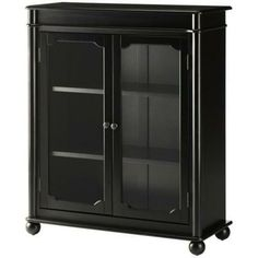 Home Decorators Collection Essex 39 in. H Black 3-Shelf Bookcase with Glass Doors-1049100210 at The Home Depot