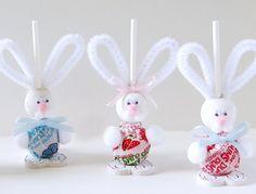 DIY Easter Bunny Suckers  - buy big lollipops at WalMart, easy treat