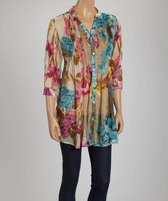 Another great find on #zulily! Beige & Blue Sheer Floral Pleated Tunic #zulilyfinds