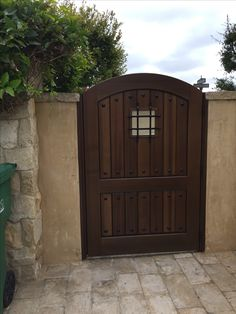 Custom Wood Gate by Garden Passages - Large Custom Wood Gate with Decorative Square Iron Grill in Speak-Easy Opening